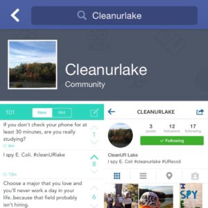 A composite of several images of the #cleanURlake's social network accounts. Nicola Freedman.