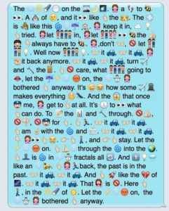 "A text message containing the lyrics to ""Let It Go,"" represented by emojis. Courtesy of Buzzfeed"