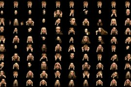A grid of stills of a white woman pushing her face into new shapes.