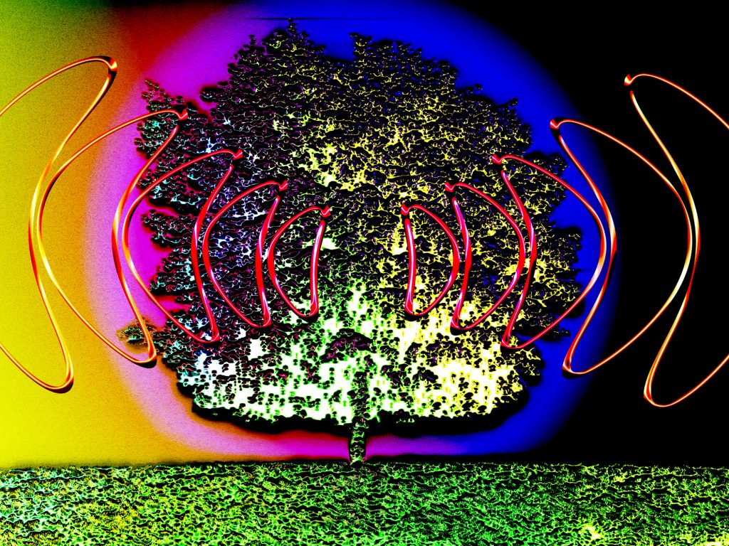 Illustration of a multicolor tree transmitting red radio waves on a multicolor background, a blue and pink halo of color appears around the tree.